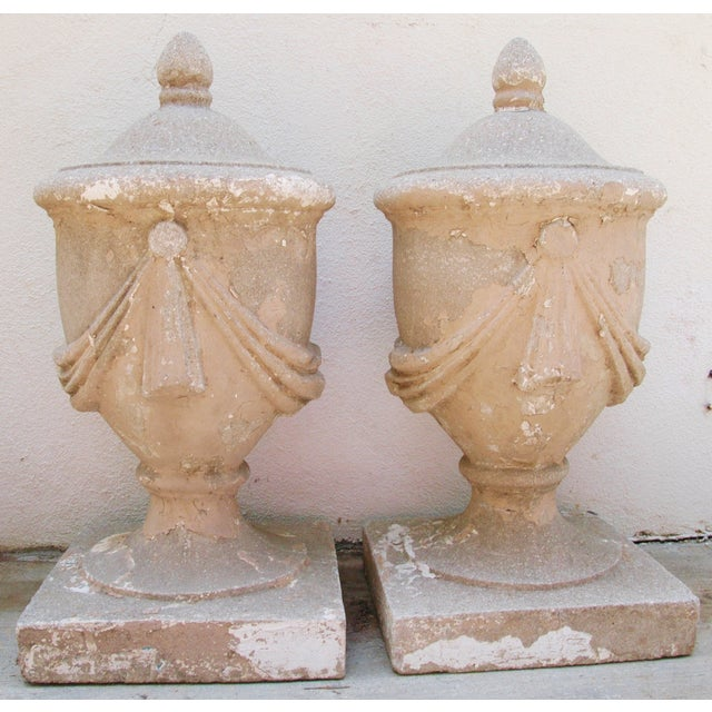 Large Estate Concrete Garden Finials - Pair - Image 3 of 11
