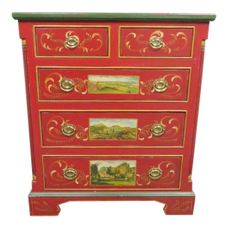Jane Keitner Brighton Pavillion Folk Art Painted Chest For Sale