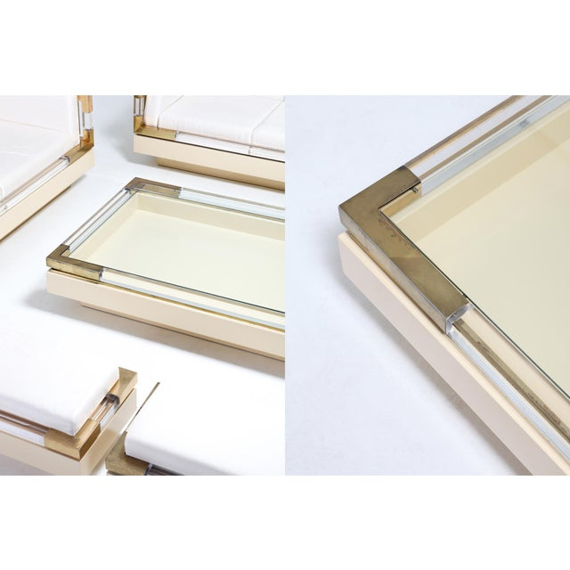 Gold Sliding Coffee Table in Brass, Lucite and Lacquer by Charles Hollis Jones 1970s For Sale - Image 8 of 9