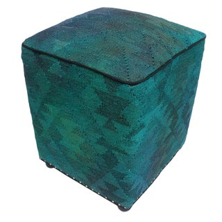 Arshs Delena Teal/Gray Kilim Upholstered Handmade Ottoman For Sale