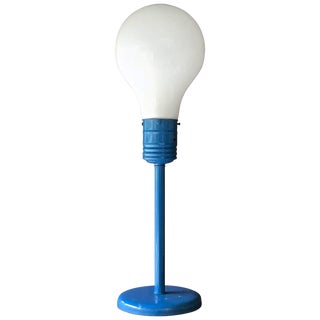 1970s Pop Art Kids Room Blue Table Lamp Giant Lightbulb Retro Atomic Mid-Century For Sale