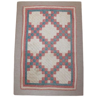 19th Century Mounted Doll Quilt, Postage Stamp Chain For Sale