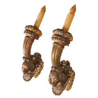 19th Century French Louis XVI Style Giltwood Torch Sconces - a Pair For Sale