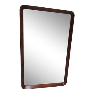 Vintage Rosewood Danish Modern Finger Joint Hanging Wall Mirror For Sale