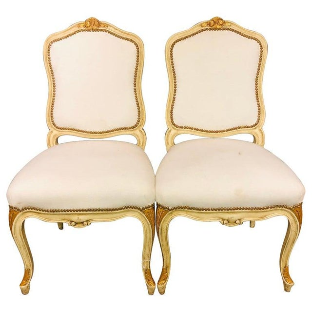 Labeled Jansen Fine Pair of Oversized Side or Desk Chairs in Parcel Gilt Paint For Sale - Image 13 of 13