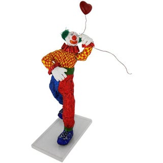 Fun Bright Mixed Media Folk Art Clown Sculpture With Balloon Paper Maché For Sale