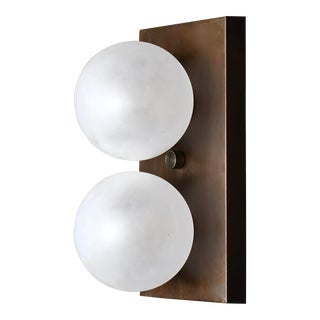 Duo Wall Sconce in Bronze and Blown Opal Glass by Blueprint Lighting, 2020 For Sale