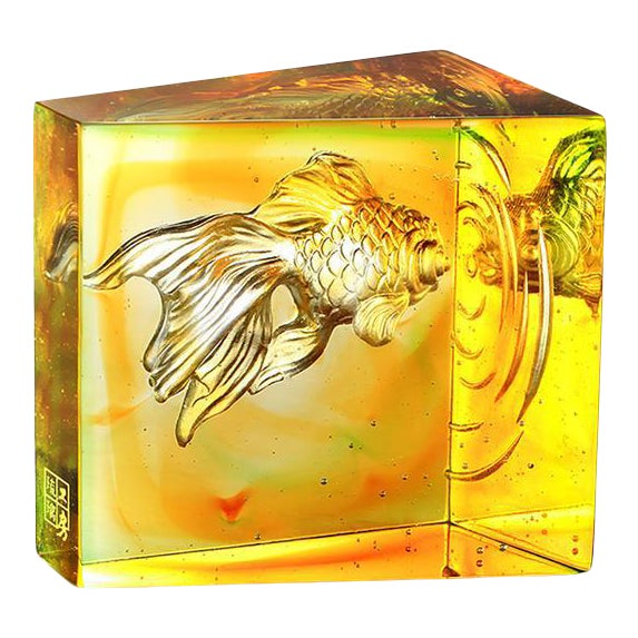 """Crystal Goldfish """"Swim Toward Freedom"""" in Amber Spring Green For Sale"""