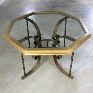 Hollywood Regency Wrought Iron Dining Table with Octagon Gilded Wood Rimmed Glass Top Preview