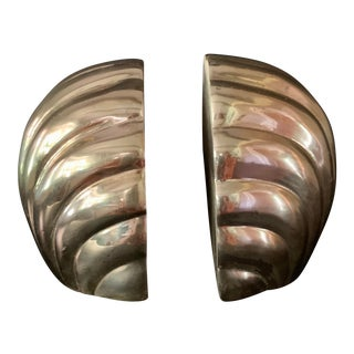 1980s Brass Shell Bookends -a. Pair For Sale