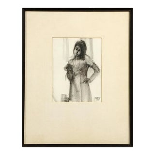 """Janet"" 1967 Charcoal Drawing by Carol Wald (Michigan, 1935-2001) For Sale"