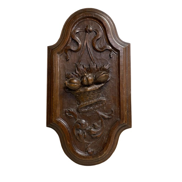 Wood English Antique Carved Plaque With Fruit Basket For Sale - Image 7 of 7