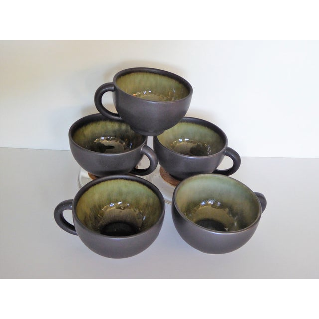 Green French Hand Made Mocha & Green Ceramic Cups - Set of 5 For Sale - Image 8 of 8