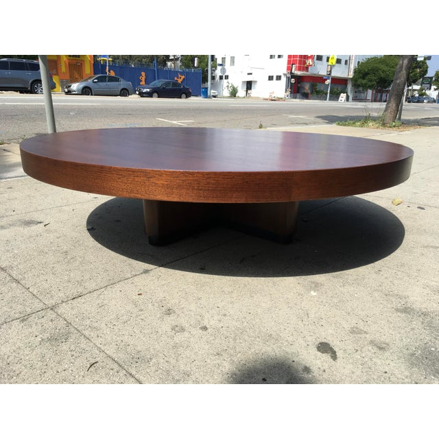 Coffee 1950s Art Deco Architectural Round Mahogany Coffee Table For Sale - Image 8 of 11