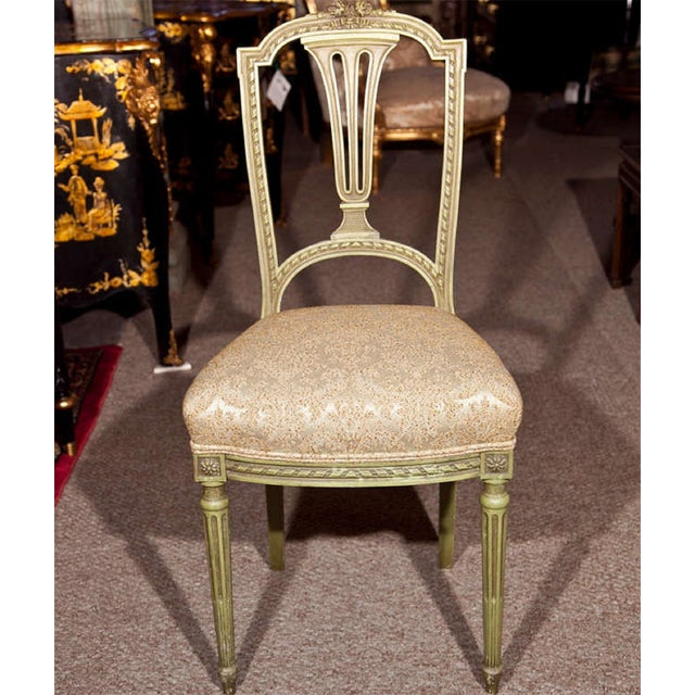 French Green Painted Side Chairs - Pair - Image 3 of 7