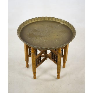 Moroccan Bronze Tray Table With Folding Wood Stand Preview