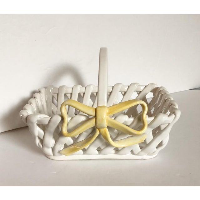 Portuguese Ceramic Handled Basket For Sale - Image 4 of 4