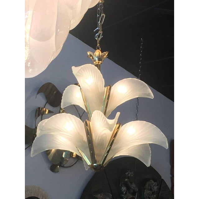 Italian Murano Glass & Brass Palm Tree Frond Leaf Chandelier - Image 10 of 12