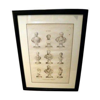 18th Century Engraving of Busts 2 For Sale