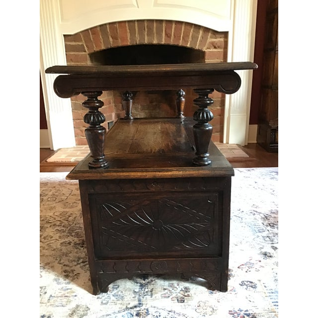 Late 19th Century Antique Brown Monks Bench For Sale - Image 11 of 13
