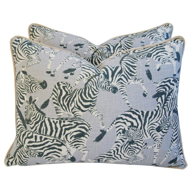 "Safari Zebra Linen/Velvet Feather/Down Pillows 24"" X 18"" - Pair For Sale"