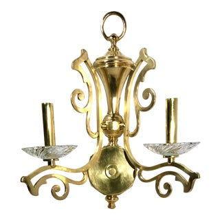 "Vintage Solid Brass Scrolled Direct Wire ""Candle"" Light Wall Sconce For Sale"