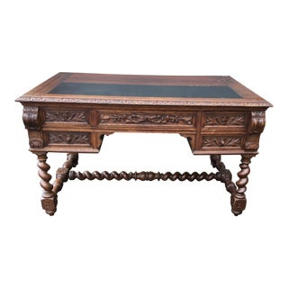 19th Century Italian Oak Desk W/ Barley-Twist Legs