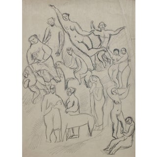 Jennings Tofel Expressionist Figures and Animals Graphite Drawing, Early 20th Century For Sale