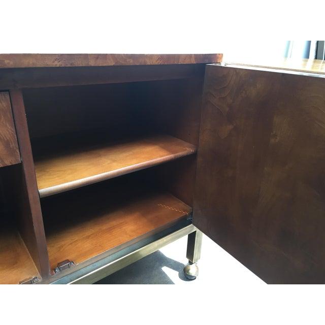 Gold Tomlinson Burl Wood Bar Cart For Sale - Image 8 of 13