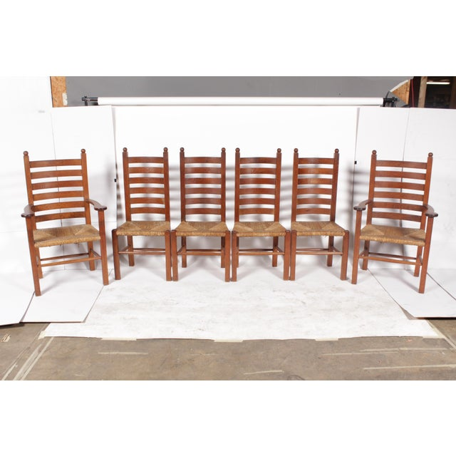 1930s Mission-Style Dining Chairs - Set of 6 - Image 2 of 11