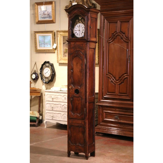 18th Century French Louis XV Carved Walnut and Burl Case Clock With Rooster For Sale - Image 12 of 12