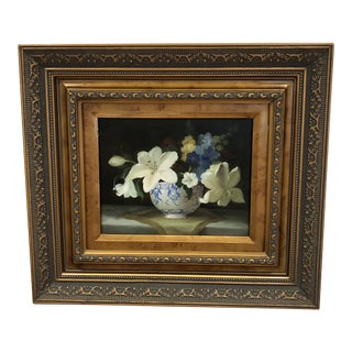 Flowers in a Blue and White Vase Still Life Oil Painting For Sale