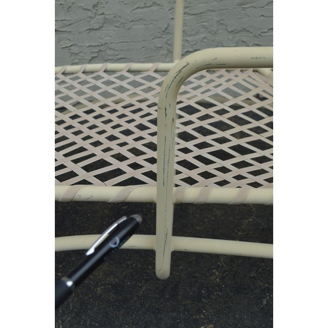 Metal Vintage Brown Jordan Tamiami Vinyl Lace Patio Chaise Lounge For Sale - Image 7 of 13