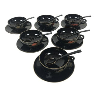 Vintage Japanese Black Lacquerware Cups and Saucers with Spoons - Set of 6 (18 Pieces) For Sale