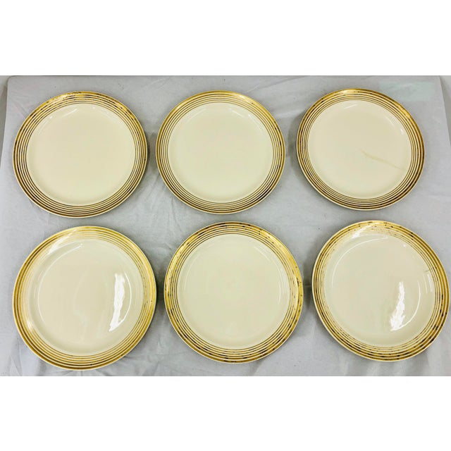 Early 20th Century Vintage Taylor Smith Gold Rimmed Dinner Plates - Set of 6 For Sale - Image 5 of 11