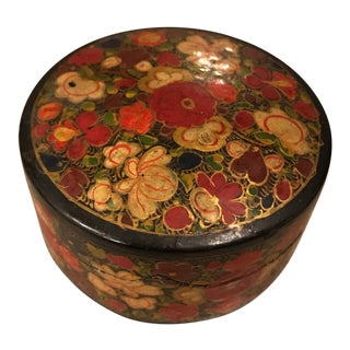 Indian Decorative Paper Maché Box For Sale