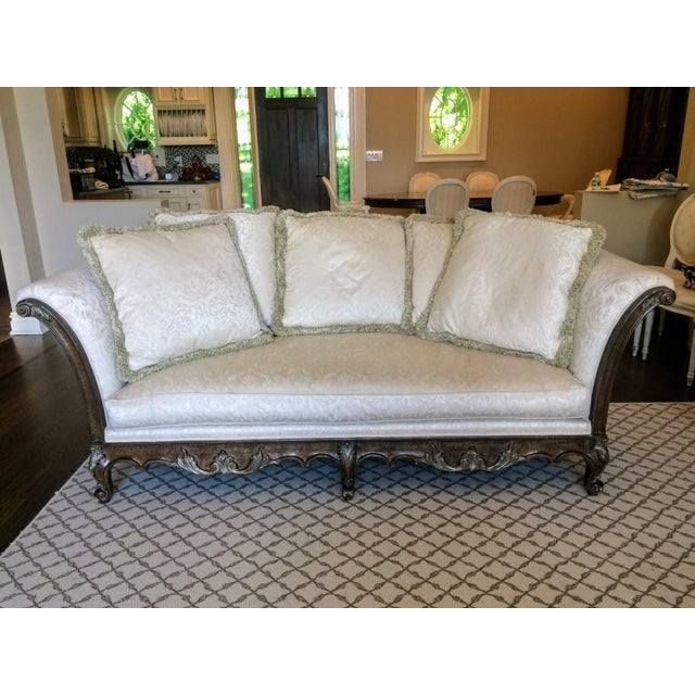 Stunning Jeffco French Regence Sofa with Multi Pillow Back Model #9503 Normandy Finish Wood Frame with Silver Accents Down...