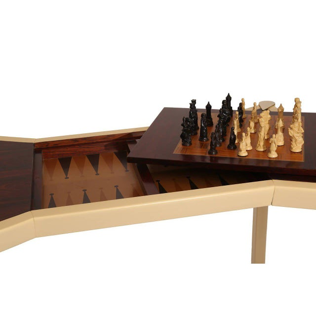 Italian Rosewood Brass and Lacquered Italian Game Table For Sale - Image 3 of 10