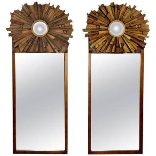 Mid-Century Modern Pair of Lane Brutalist Wood Mirrors for Mosaic Line Evans Era For Sale