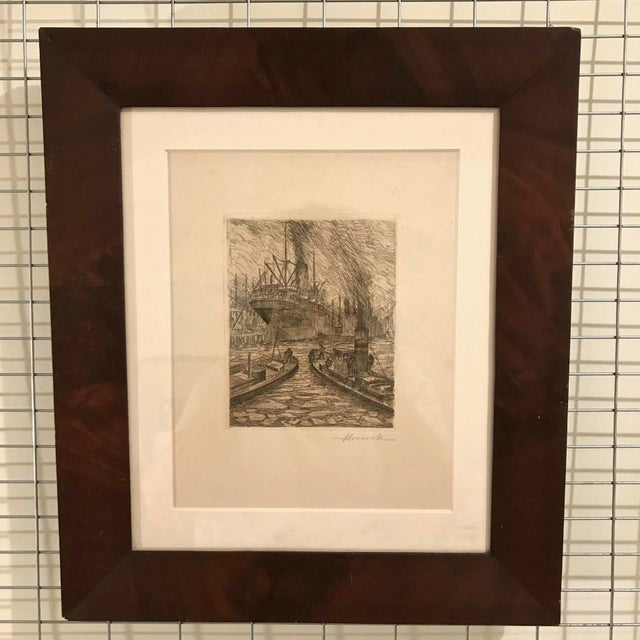 1930s 1900s Original Nautical Etching on Paper, Framed For Sale - Image 5 of 5