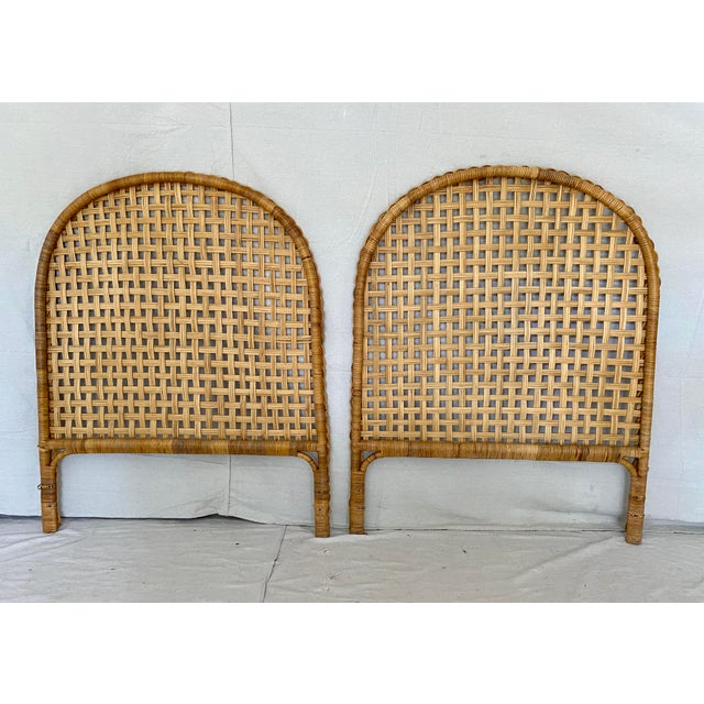 Vintage Woven Braided Rattan Headboards- a Pair For Sale - Image 11 of 13