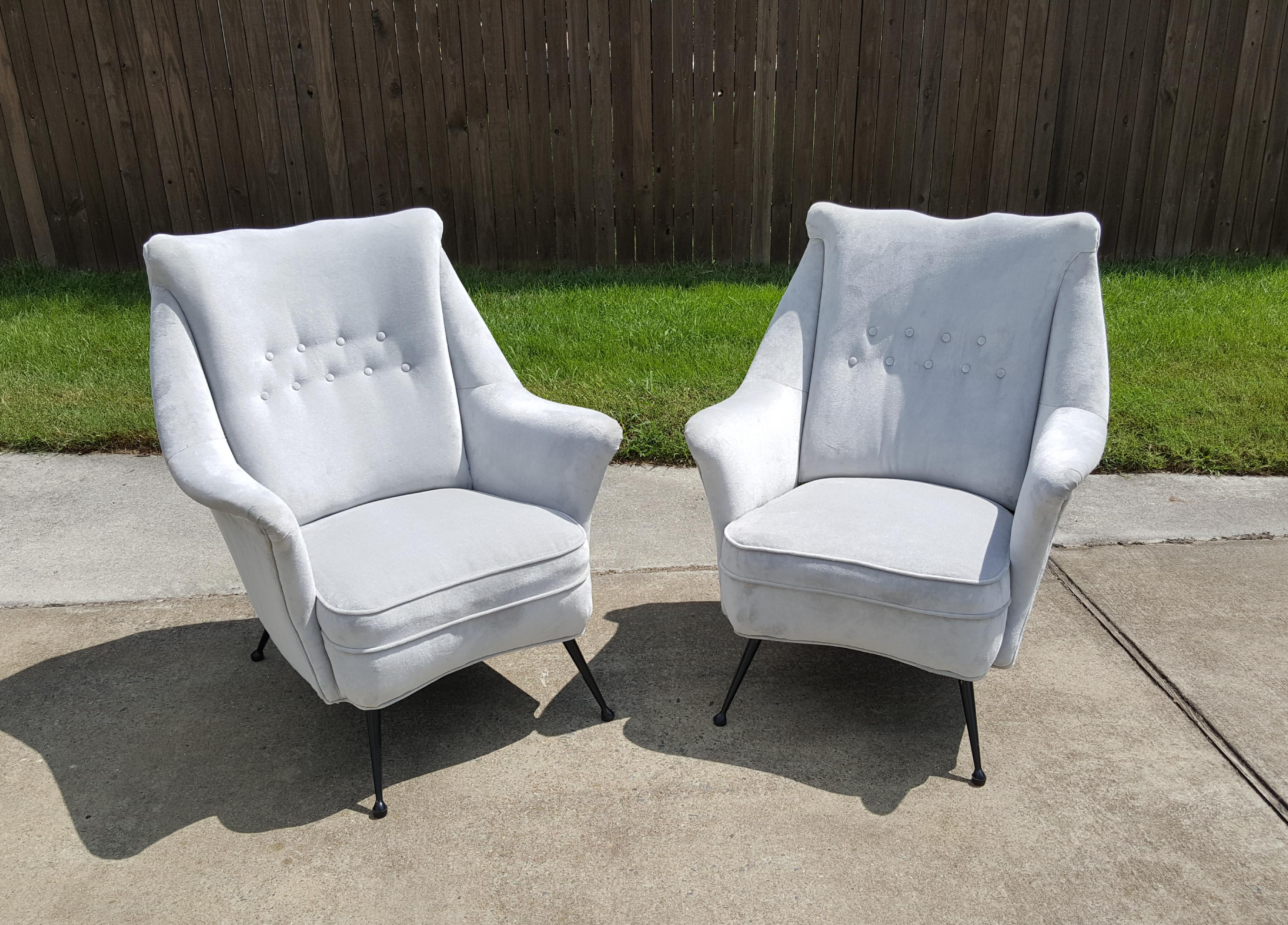 Gio Ponti Style Italian Lounge Chairs   A Pair For Sale   Image 12 Of 12
