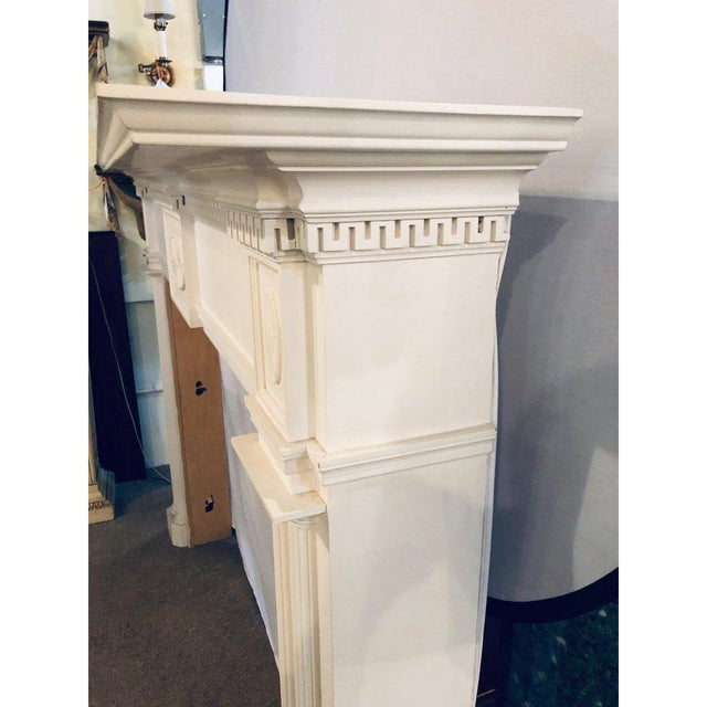 Linen Neoclassical Monumental Hand Carved Fire Place Surrounds - a Pair For Sale - Image 7 of 13