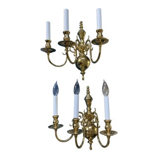 Williamsburg Style Brass 3-Light Wall Sconces - a Pair For Sale