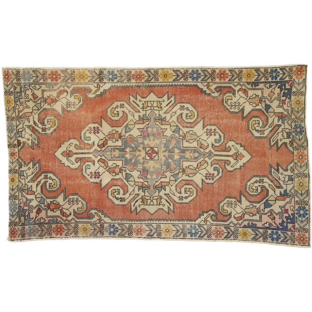 Distressed Vintage Turkish Oushak Rug With Art Deco Style - 4'05 x 7'07 For Sale