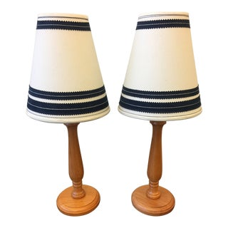 Americana Wooden Table Lamps With Vintage Lamp Shades - a Pair For Sale