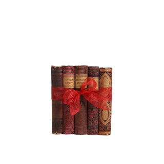 Antique Red & Brown : Gift Set of Five Decorative Books