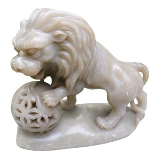 Chinese Carved Soapstone Figure of a Lion For Sale