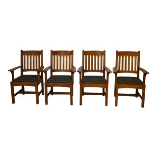 Vintage L. & J.G. Stickley, Inc. Mission Style Oak Dining Chairs - Set of 4 For Sale