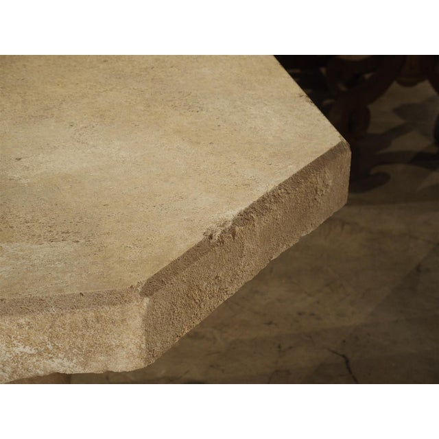 White Carved Octogonal Limestone Table from Provence France For Sale - Image 8 of 9